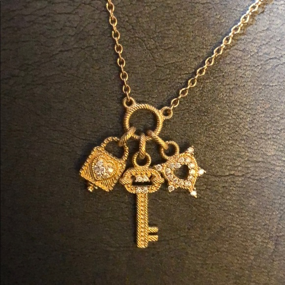 Judith Ripka Jewelry - Judith Ripka 14 Gold and Diamond Charm Necklace